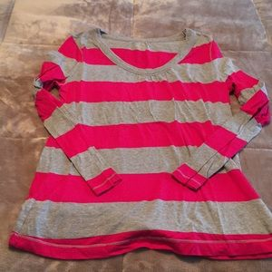 Gray and pink stripe shirt